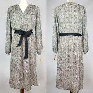 Vintage Dress Black White Belt Bishop Sleeve